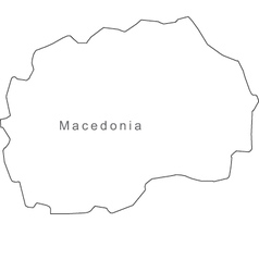 Black White Macedonia Outline Map vector image vector image