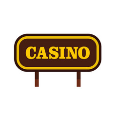 Casino signboard icon flat style vector