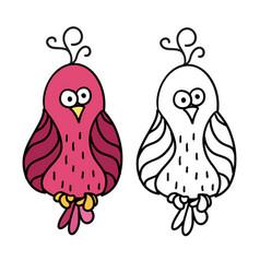 Cute cartoon pink bird for colouring vector