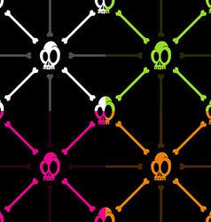 Halloween skull and bone pattern on black backgrou vector image