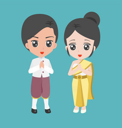Male and female dress in thai traditional costume vector
