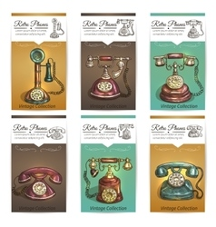 Old retro phones banners or cards vector image vector image