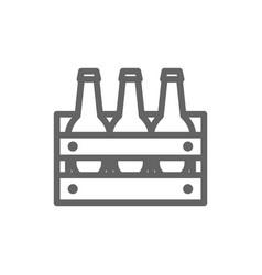 simple beer bottles in basket line icon symbol vector image vector image