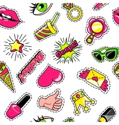 Elements For Girls Comic Style Pattern vector image