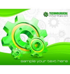 Gears on technical background vector image vector image