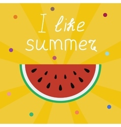 I love summer lettering on a yellow with sun rays vector image vector image
