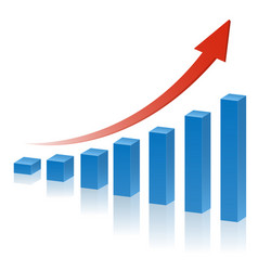 3d business graph with red rising arrow vector image