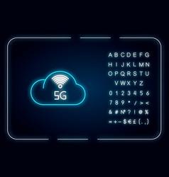 5g cloud service neon light icon cloud computing vector