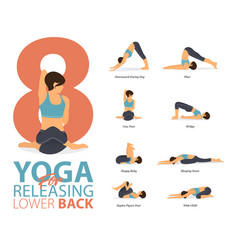 8 yoga poses for workout in releasing low back vector