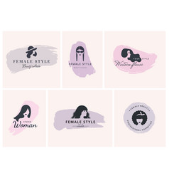 a large set womens-style logos vector image