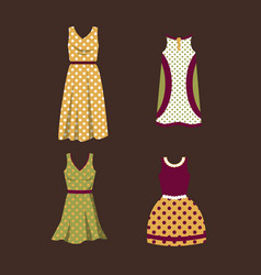 a set of women dresses in polka dots vector image