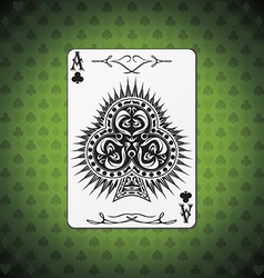 Ace clubs poker card green background vector