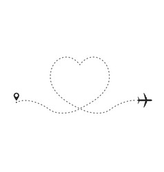 airplane route in heart shape romantic travel vector image