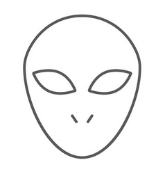 alien thin line icon space character humanoid vector image