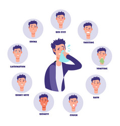 Allergy concept with symptoms signs and man vector