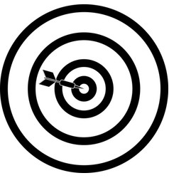 Arrow hits bullseye icon symbol black white vector