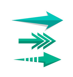 Arrow pointers web set in flat style vector