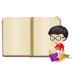 Background template with book and boy vector