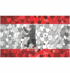 Berlin flag made hearts background vector