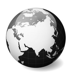 black earth globe focused on asia with thin white vector image