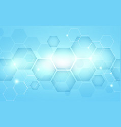 Blue abstract hexagons technology digital hi tech vector