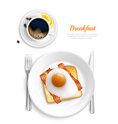 breakfast realistic top view composition vector image