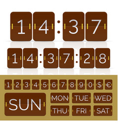 Brown countdown timer and week day flip calendar vector
