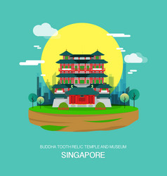 buddha tooth relic temple and museum landmark in vector image