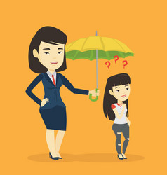 Businesswoman holding umbrella over woman vector