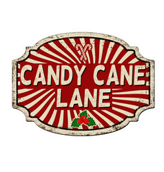 Candy cane lane vintage rusty metal sign vector