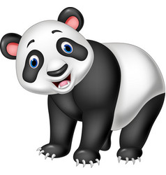 cartoon happy panda isolated on white background vector image