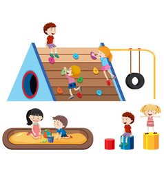 children and outdoor playground vector image
