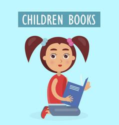 children books advertisement with little girl vector image