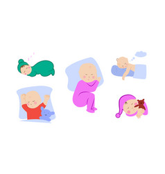 children lying on pillow under blanket set with vector image