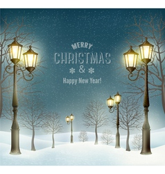 Christmas evening winter landscape with lampposts vector