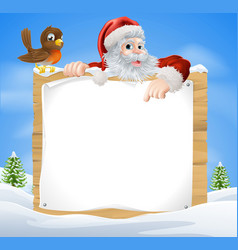 Christmas snow scene santa sign vector