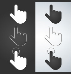 click hand icon set click hand icon flat design vector image