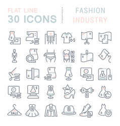 Collection linear icons fashion industry vector