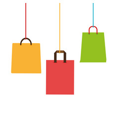 colorful shopping bags hanging icon design vector image