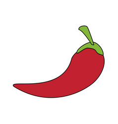 Colorful silhouette chili pepper mexican vegetable vector