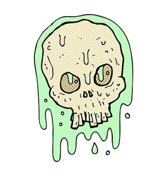 Comic cartoon slimy skull vector