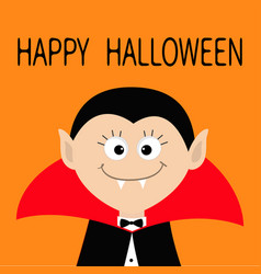 Count dracula head wearing black and red cape vector
