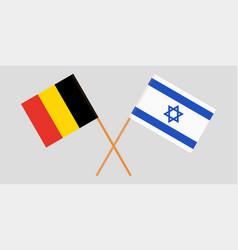 Crossed flags israel and belgium vector