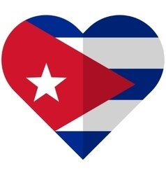 Cuba flat heart flag vector image