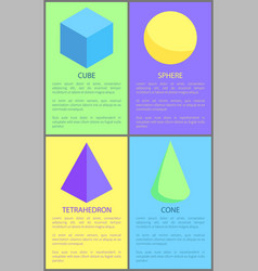 Cube cone sphere and tetrahedron prisms collection vector