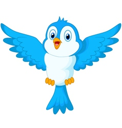 Cute cartoon blue bird flying vector image