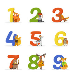 cute wild ethnic animals and numbers birthday vector image