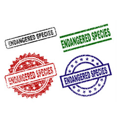 Damaged textured endangered species seal stamps vector