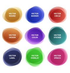 different colorful round overlay sticker set vector image