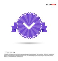 Down arrow icon - purple ribbon banner vector